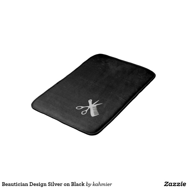 sold Beautician Design Silver on Black Bath Mat