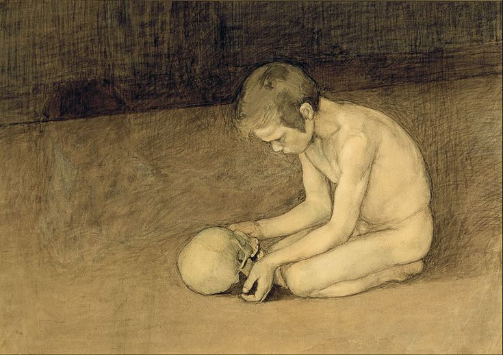 Poika ja pääkallo / Boy with Skull (1893) by Magnus Enckell