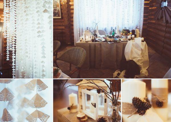 Красивая свадьба зимой — рустикальный уют (Даша и Сергей)
