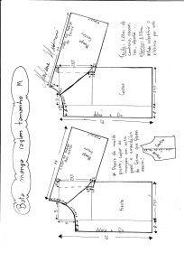 Esquema de modelagem de bata raglan tamanho M.