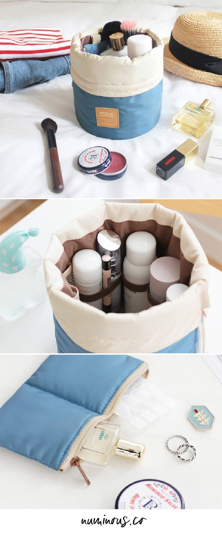 Traveling with makeup can be so difficult and messy! This cosmetic organizer will be a lifesaver for you. It keeps all of your cosmetics organized and easily accessible so you don't have to dig through your bag to find it. I take this everywhere with me, not just on long trips. Go get one so you can stop digging through your bag whenever you need to touch up your makeup!