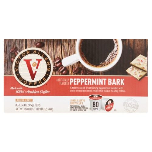 Victor Allen's Coffee Pepermint Bark Single Serve Brew Cups 80 x 0.34 oz (26.81 oz)