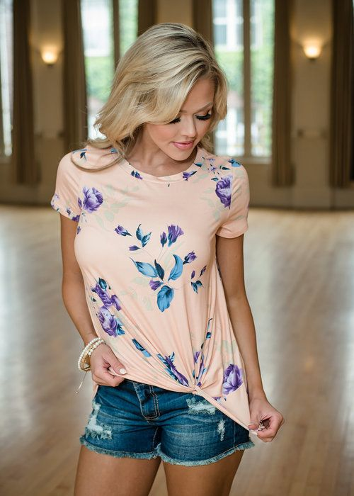 Pink Floral Knotted Top, Boutique, Online Boutique, Women's Boutique, Modern Vintage Boutique, Top, Pink Top, Floral Top, Cap Sleeve Top, Knotted Front Top, Cute, Fashion
