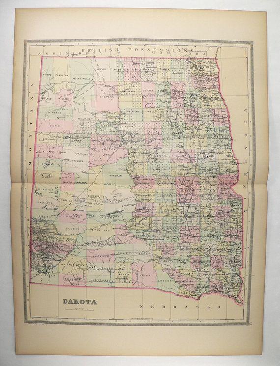 Old Dakota Map, B4 North Dakota South Dakota 1889 Bradley Map, Large ...