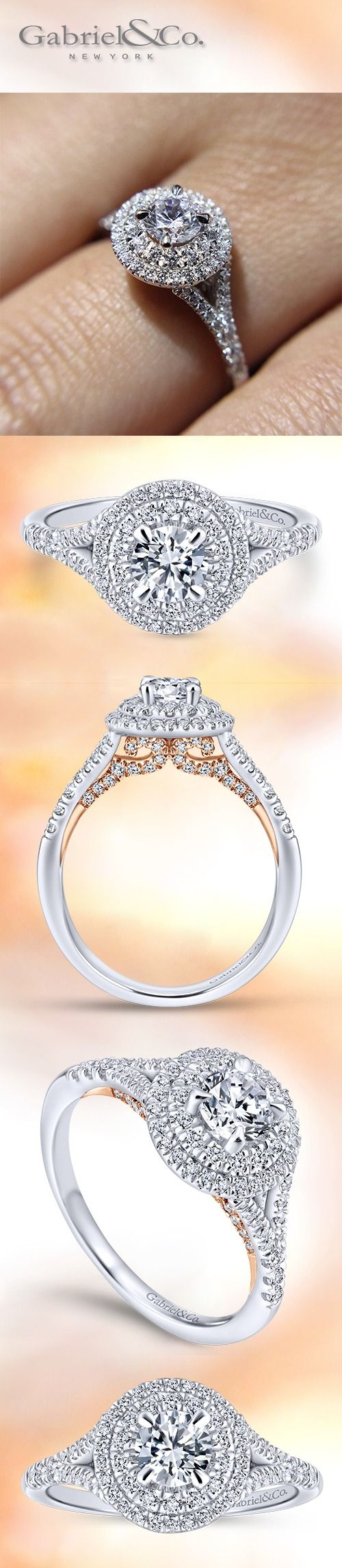 Gabriel NY - Preferred Fine Jewelry and Bridal Brand. 14k White Gold / Rose Gold Round Double Halo Engagement Ring. This double diamond halo ring also features a split shank, while surprise rose gold and diamond details wait beneath the band. Find your nearest retailer-> https://www.gabrielny.com/storelocator