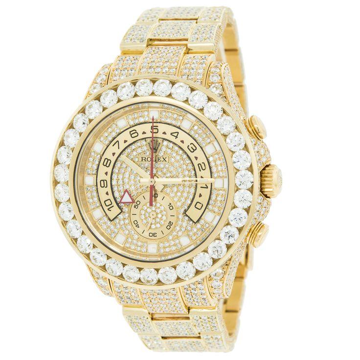Rolex Yachtmaster II 116688 18K Yellow Gold 30ct Custom Diamonds Timer Men's Watch #men'sjewelry
