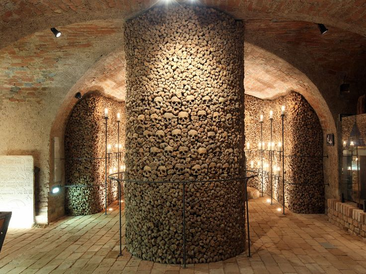 Creepiest Catacombs You Can Actually Visit - Most recent discovery: Brno Ossuary, Brno, Czech Republic -- Population: 50,000