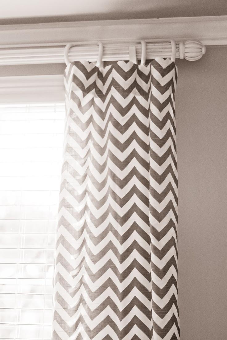 Black and white chevron curtain - Grey Chevron Curtains