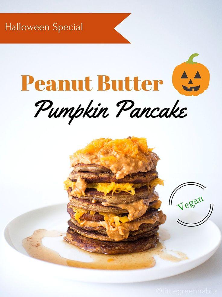 Halloween Special - Vegan Peanut Butter Pumpkin Pancakes|