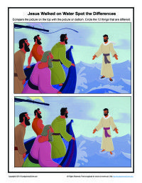 Jesus Walks on Water Spot the Differences Game | Bible Activities for Children