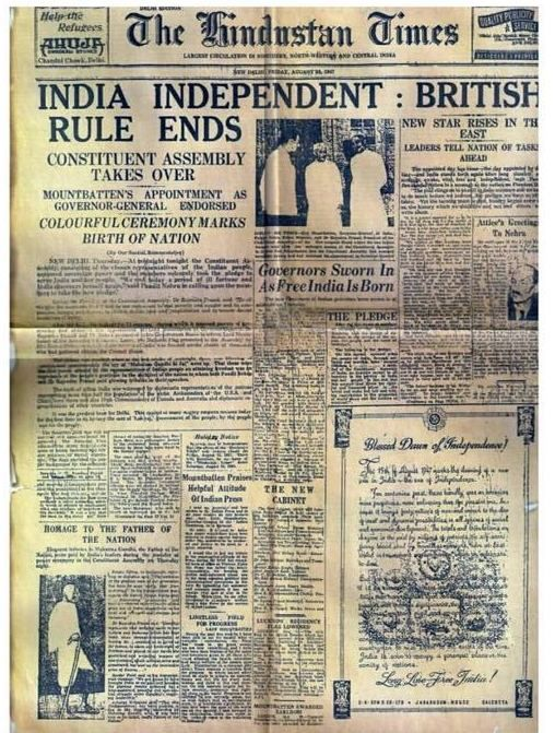 A rare Newspaper clipping from August 1947 which is worth a thousand words. A very #HappyIndependenceDay to all of you from #AnjaleeandArjunKapoor. #IndependenceDayIndia #AAK