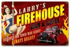 Vintage-Retro Firehouse Grill Metal-Tin Sign - Personalized