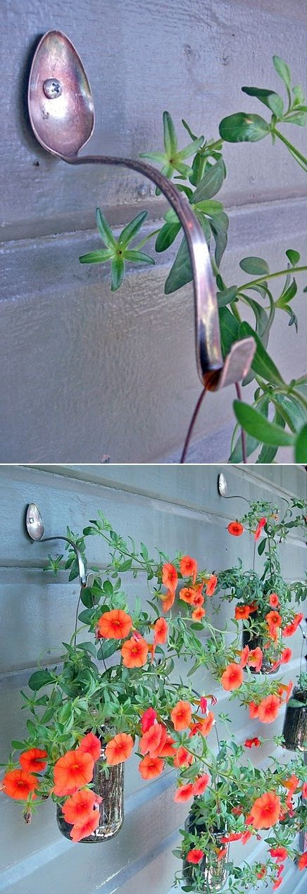 Unique Plant Hangers - Simply drill a hole in an old table spoon, bend the spoon to give it the desired curve and nail the spoon to a wall. Using a thick, long spoon will yield better results. If you are unable to bend the spoon, soften it by using a propane torch on it.