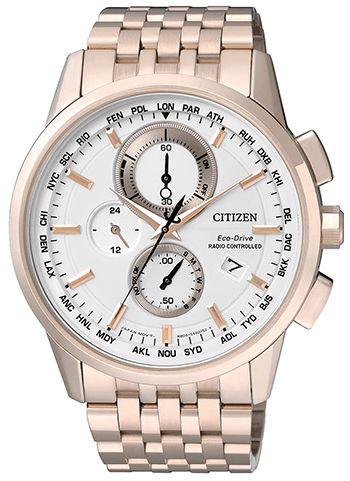 Montre Citizen Radio Pilotée - Homme - AT8113-55A - Quartz - Chronographe - Verre Saphir - Cadran et Bracelet en Acier inoxydable Or - Jour et Date - Recharge Solaire - Montre Japonaise