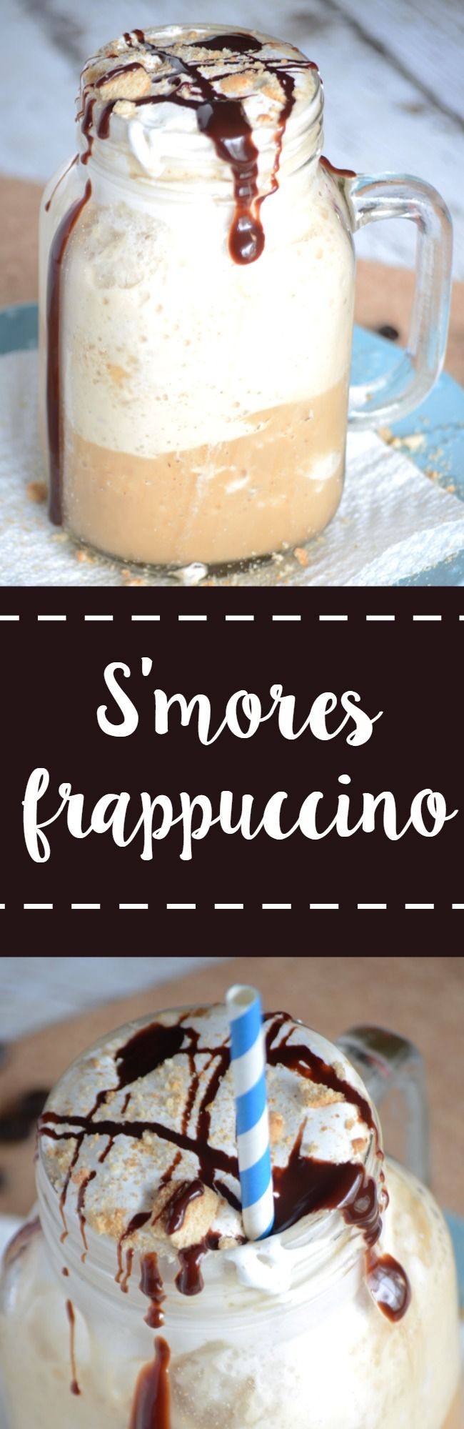 Easy s'mores frappuccino recipe!  Make this easy drink at home