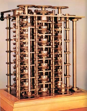 The Difference Engine, invented by Charles Babbage, this is a working model created in 1822