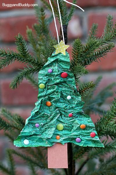 Homemade Christmas Tree Ornaments Using Newspaper and Flour! Super fun holiday craft for kids! ~ BuggyandBuddy.com