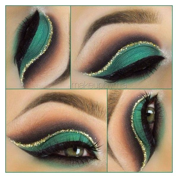 Sexy green eye-makeup! Makeup Ideas ❤ liked on Polyvore featuring beauty products, makeup and eye makeup