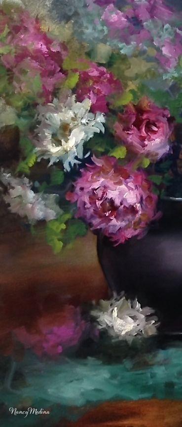 Nancy Medina Art: Storm Horizon Peonies and Painting Over an Older Work - Flower Paintings by Nancy Medina