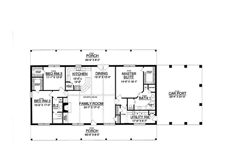30x50 rectangle house plans expansive one story i would for Rectangular house plans wrap around porch