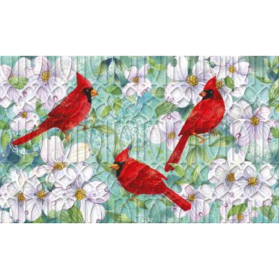 August Grove Lheureux Cardinals and Dogwood Embossed Mat