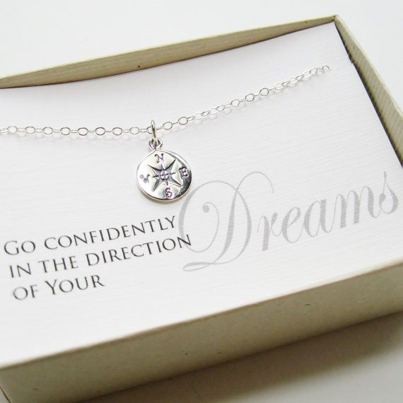 Compass Necklace, Sterling Silver - Graduation Gift, Graduate Gift, Class of 2014, Graduation necklace