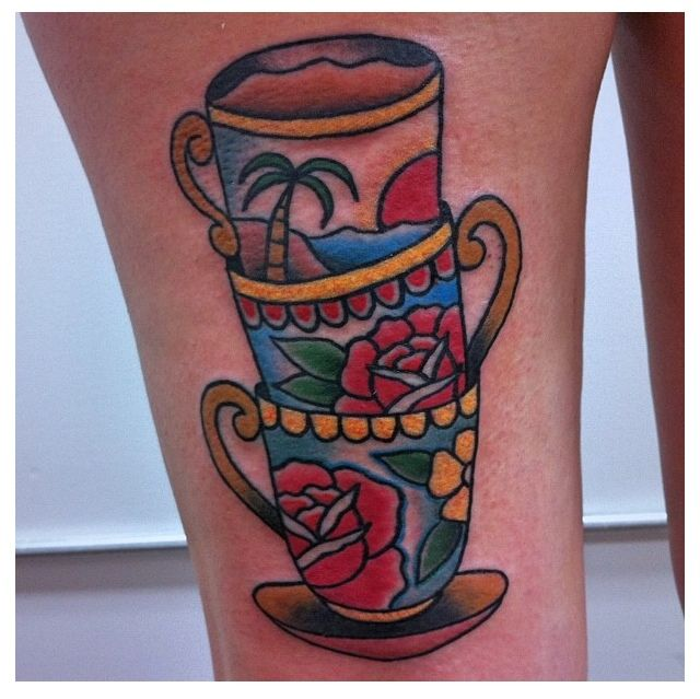 Traditional tattoo. Tropical teacup. By @Mike Mendes