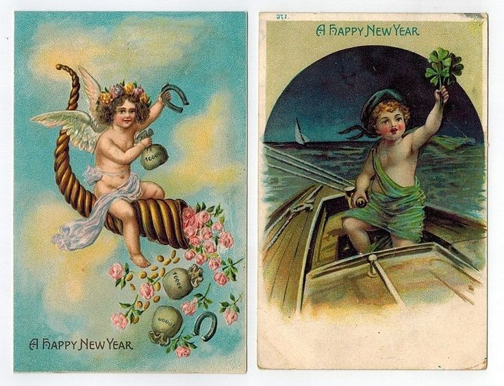 Lot of 2 Early Happy New Year Embossed German Postcards PC Angel Shamrocks #NewYear