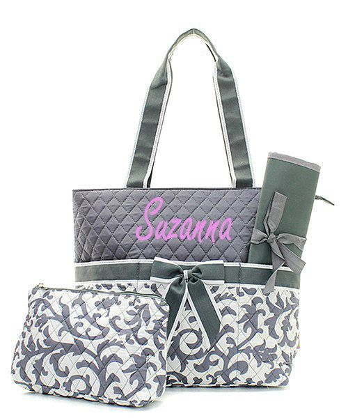 69 best monogram diaper bags images on pinterest diapers diaper personalizedmonogrammed gray damask diaper bag by momanme2 negle Image collections