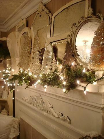 Gorgeous Christmas mantle with mirrors & lights