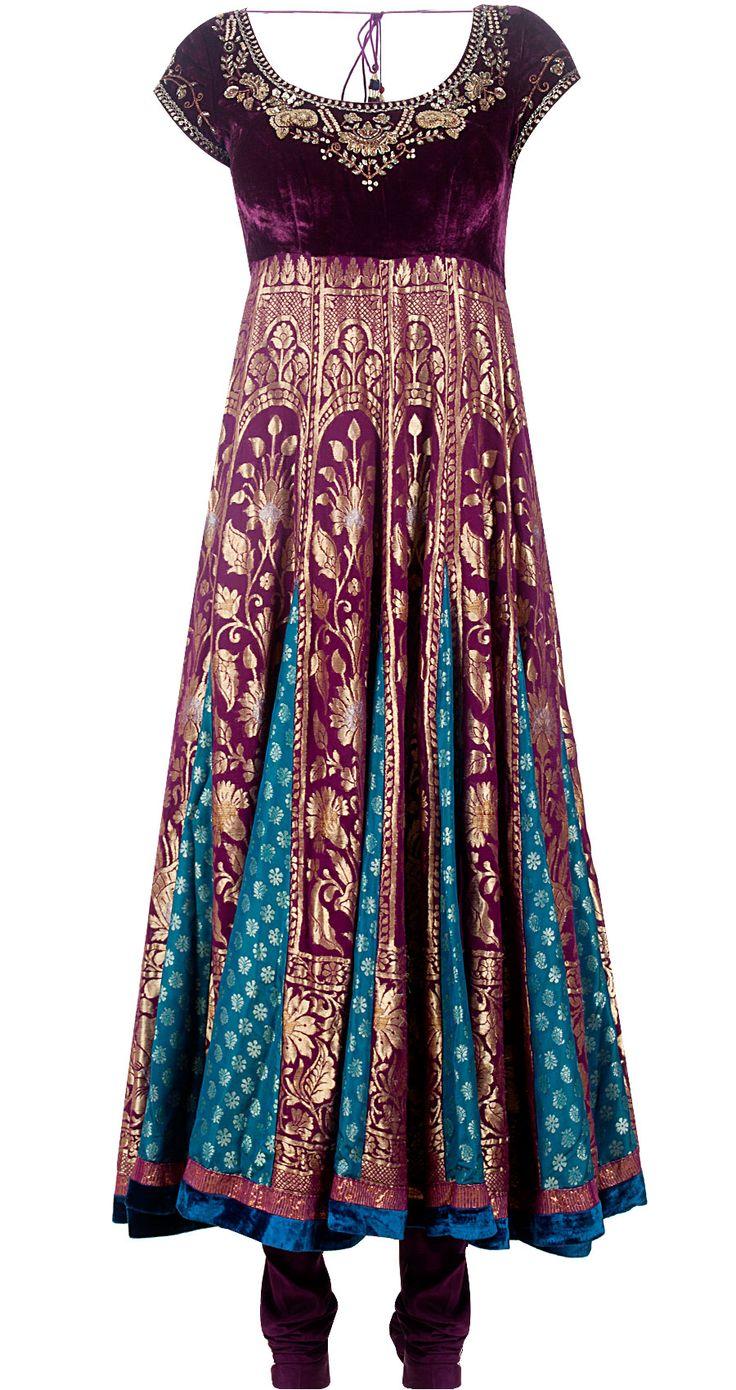 Deep purple brocade kalidaar kurta set by ANJU MODI. Shop at http://www.perniaspopupshop.com/designers-1/anju-modi/anju-modi-7636