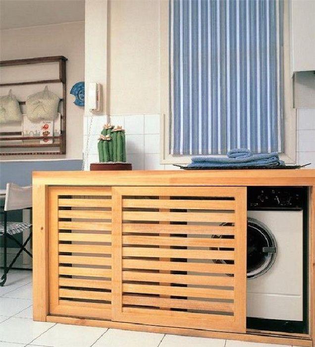 Un grande disegno possibilità di porte scorrevoli per mascherare lo spazio lavanderia con le proprie mani.