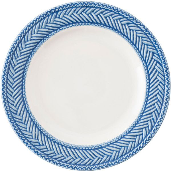Juliska Le Panier White/Delft Blue Side Plate ($22) ❤ liked on Polyvore featuring home, kitchen & dining, dinnerware, white, white plate, juliska dinnerware, white dinnerware, white stoneware and handpainted plates