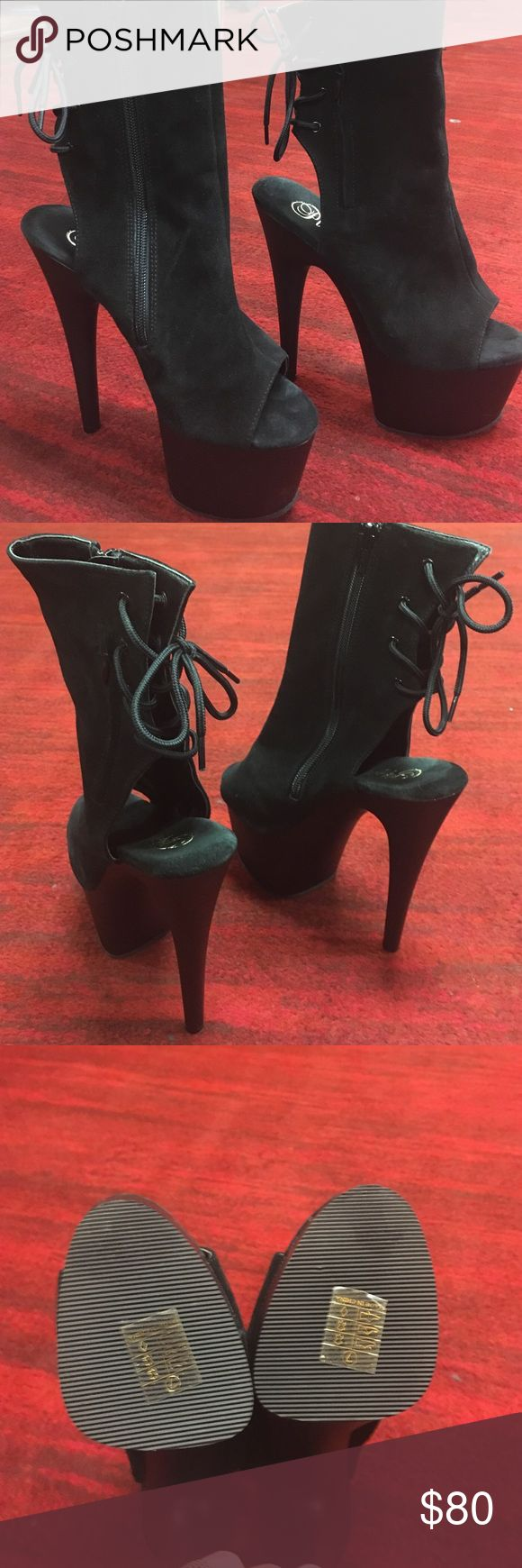 High hill shoes. Brand new, great for the night clubs, 7 inch hills,  zipper on the side. Pleasers Shoes Heels