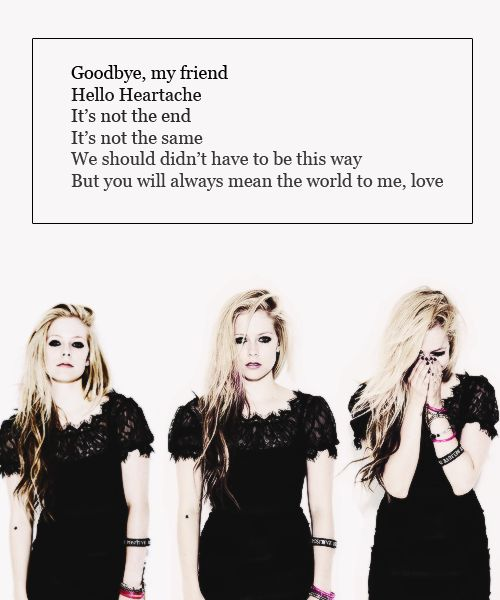 Avril Lavigne hello heartache lyric quote..frustrated..love & hate is a fine line.. knowing it's the right thing and plus,you will be better off just doesn't ease the pain.. it freaking hurts