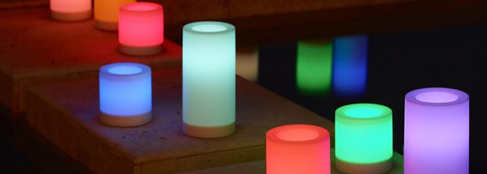Light Illusions™ Color-Changing Outdoor 3-Piece Led Pillar Garden shown turned on with multi colors