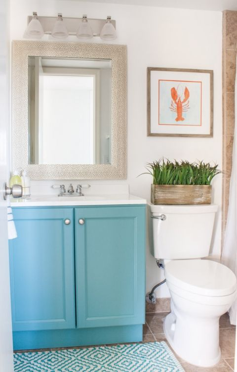 Vanity painted a peacock color. Walls, fresh white color. Lovely~ Beach Condo Guest Room Coastal Decor