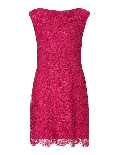 lauren ralph lauren kleid aus floraler haekelspitze in rose