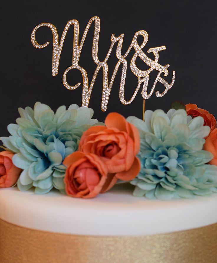Buy Mr and Mrs GOLD Cake Topper - Premium Crystal Rhinestones - Wedding Bridal Sh...for R569.00
