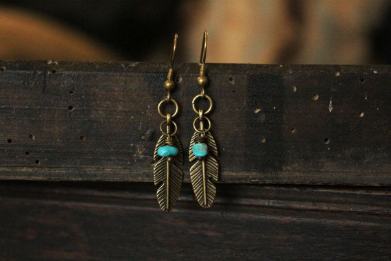 Feather and Turquoise Earrings by DesertGypsea on Etsy