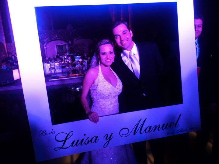 marco para tomar fotos recuerdo de boda