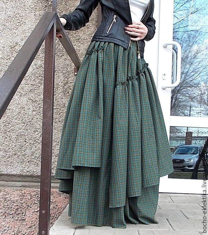 """Купить """"Зеленая клеточка""""Юбка длинная с клиньями в стиле бохо - зеленый, в клеточку, бохо, бохо-стиль"""