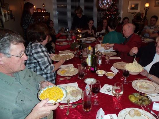 Enjoying the Christmas dinner tradition!