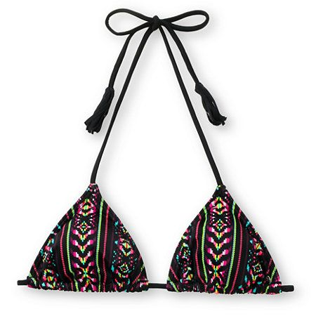 Seize the day and catch every wave in the Diem triangle bikini top from Billabong Girls. This teeny bikini is a classic triangle top with fully adjustable back and neck ties with fringe details, light padding with removable soft cups, and an all-over 70's inspired neon tribal print for added edge. Surfs up Billabong girl, it's time to Carpe Diem!