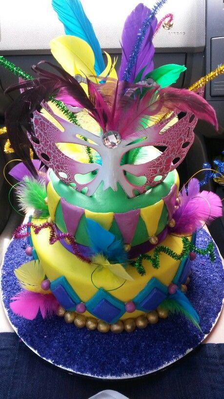 Mardi-Gras birthday cake