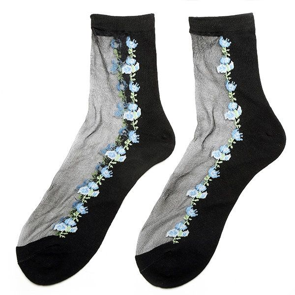 Women Girl Rose Floral Embroidery Sheer Mesh Transparent Socks Short Ankle Breathable Hosiery at Banggood