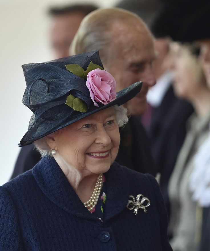 Queen Elizabeth II arrives for a ceremonial welcome at Horse Guards Parade on October 21, 2014 in London, England.