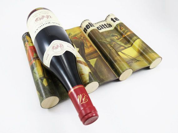 Magazine Wine Rack  Bottle Rack with Recycled by CeeBeeRecycle