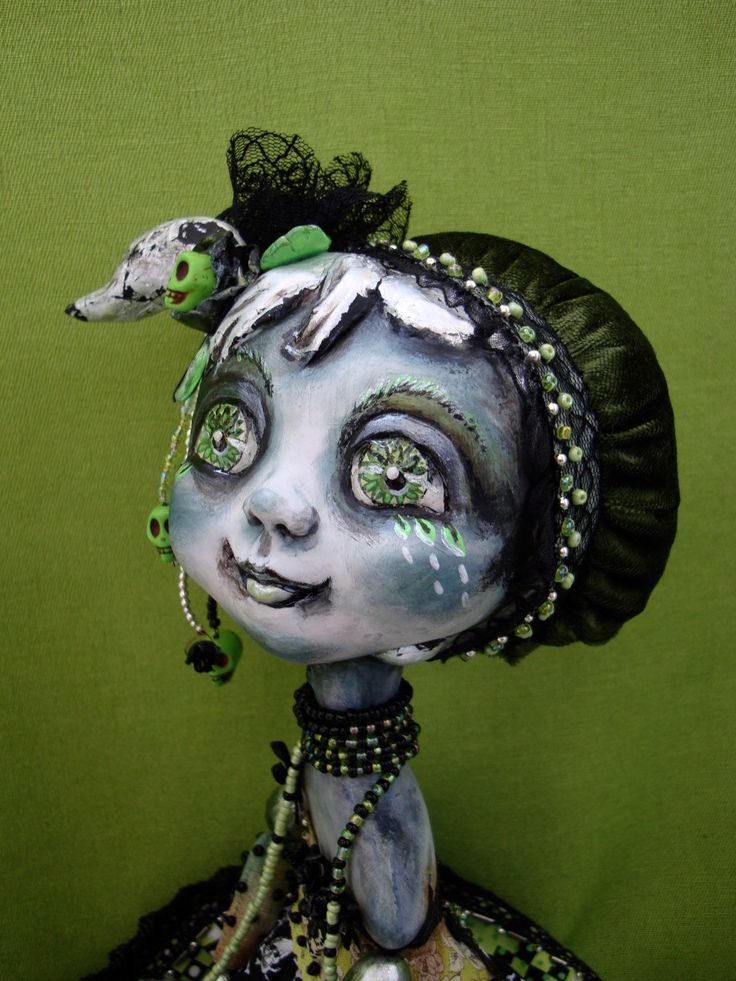 Gothic doll black and green - Whimsical big-eyed girl - Green spring gothic doll - Art figurine as unique gift for gothic lover by DreamTrainOfDolls on Etsy https://www.etsy.com/listing/286556795/gothic-doll-black-and-green-whimsical