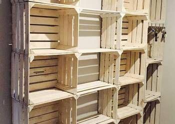 Regal Ze Skrzynek Bialych Drewnianych Owocowych Polka Szafka Shelving Home Decor Decor